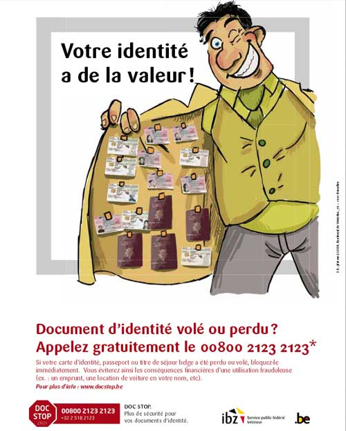 attention au vol de documents. Un souci ? contactez www.docstop.be
